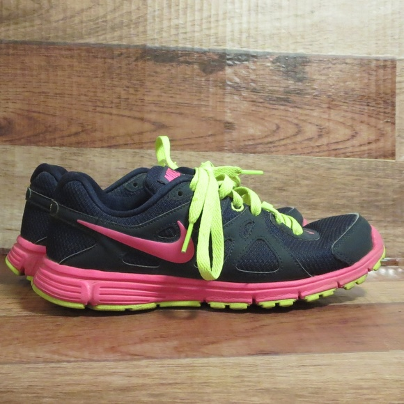 *NIKE* Revolution 2 Navy Pink and neon Yellow*